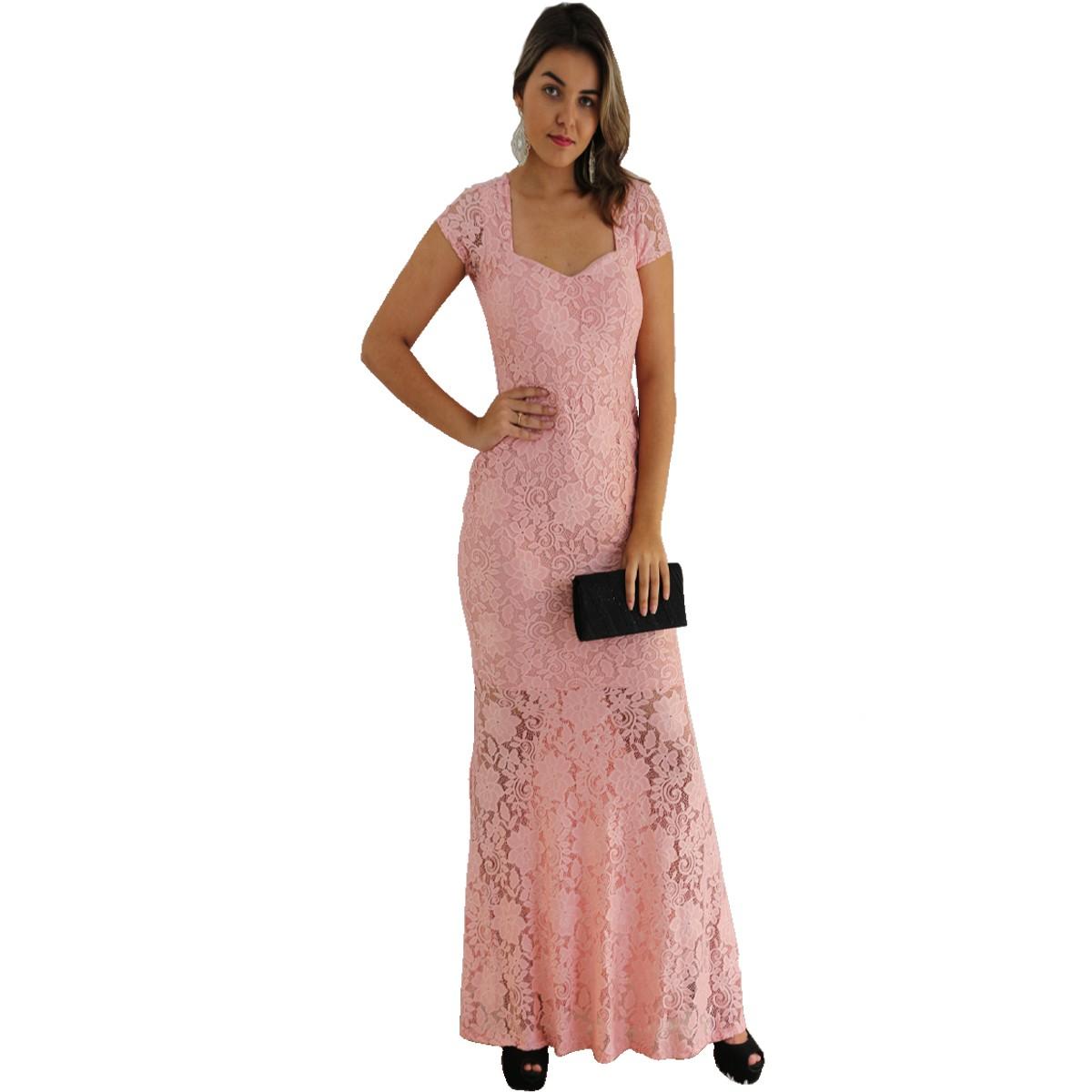 Vestido Longo Rosa Nude Renda C/ Forro E Bojo