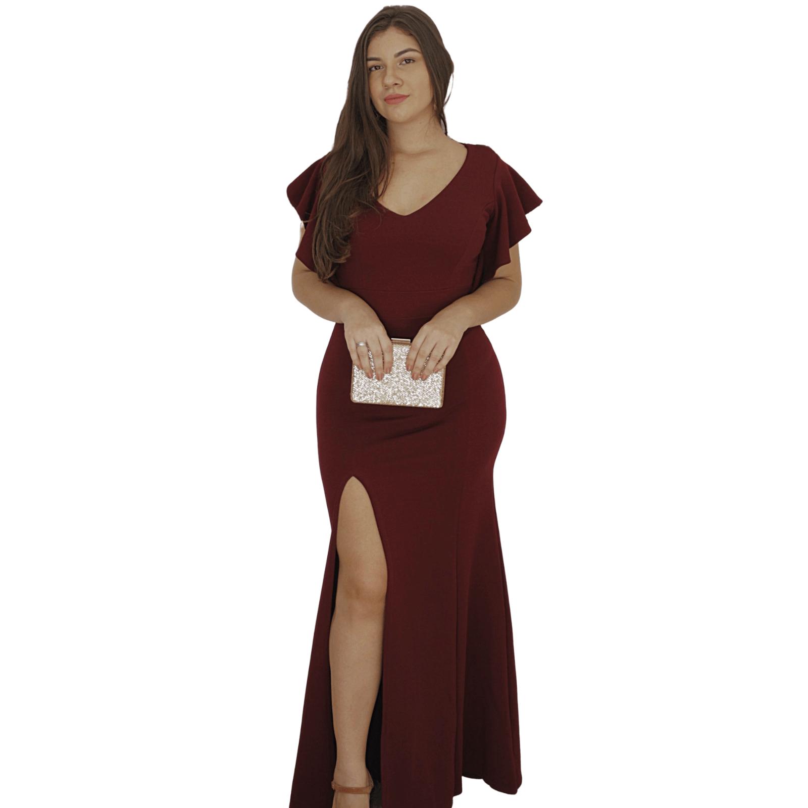 Vestido Longo Preto Festa Formatura Casamento Manguinha Bojo