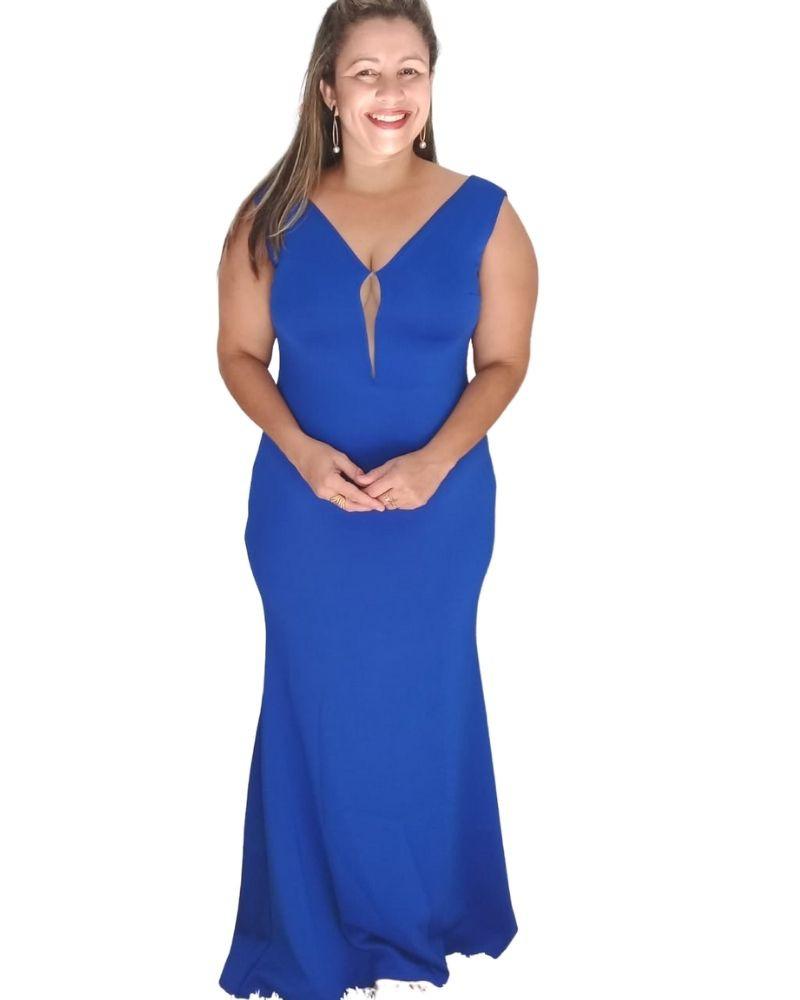 Vestido Plus Size Longo barato Neoprene festa azul casamento aniversário eventos