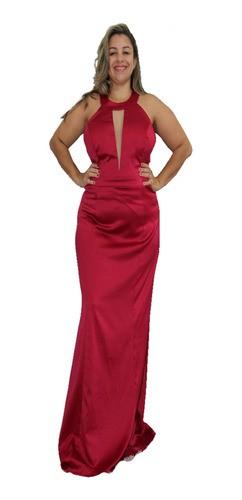 Vestido Plus Size Marsala Luxo Elegância Sofisticação Festas