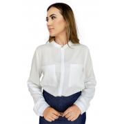 Camisa Feminina Branca Manga Longa com Regulador