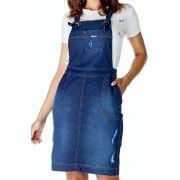 Jardineira Jeans Secretária com Rasgos Dyork Jeans