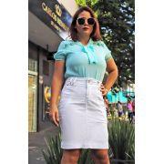 Saia Branca Secretária Com Recortes e Nervuras Na Frente Dyork Jeans