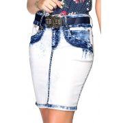 Saia Jeans Azul Claro Lavagem Sky Dyork  Jeans
