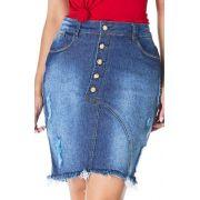 Saia Jeans Barra Desfiada Detalhe BotõesDyork Jeans