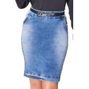 Saia Jeans Clara com Bordados nos Bolsos e Zíper Traseiro Dyork Jeans