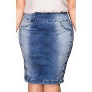 Saia Jeans Claro Plus Size com Detalhes de Tachas Dyork Jeans