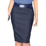 Saia Jeans Escura Midi com Detalhe de Vivo Azul Dyork Jeans