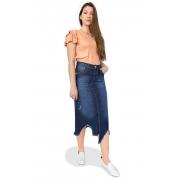 Saia Jeans Maxi Midi Desfiada Puída Dyork Moda Evangélica