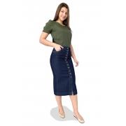 Saia Jeans Maxi Midi Escura Botões Dyork Moda Evangélica