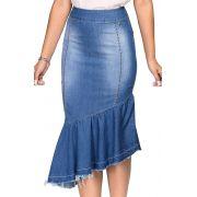 Saia Jeans Midi com Barra Assimétrica e Detalhes de Tachas Dyork Jeans