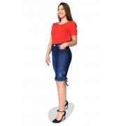 Saia Jeans Midi Desfiada Ralados Dyork Moda Evangélica