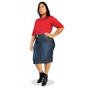 Saia Jeans Midi Plus Size Recortes Laterais Dyork Moda Evangélica