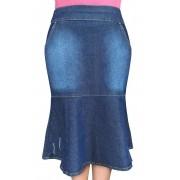 Saia Jeans Midi Sereia com Recorte Dyork Jeans
