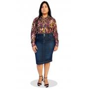Saia Jeans Plus Size Midi Clássica Dyork Moda Evangélica