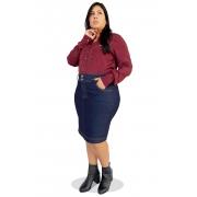 Saia Jeans Plus Size Secretária Clássica Dyork Moda Evangélica