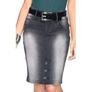 Saia Jeans Preta Detalhe Em Botões Na Barra Dyork Jeans
