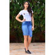 Saia Jeans Recorte Frontal Barra Assimétrica Dyork Jeans