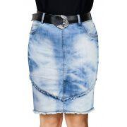 Saia Jeans Recortes Com Desfiados Dyork Jeans