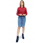 Saia Jeans Secretária Clara Barra Desfiada Dyork Moda Evangélica