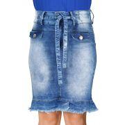 Saia Jeans Secretária com Cinto de Amarração e Barra Desfiada Dyork Jeans