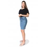 Saia Jeans Secretária Desfiada Puídos Bigode Abertura Laterais Dyork Moda Evangélica