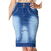 Saia Jeans Secretária Desfiados Rasgos Barra Desmanchada Dyork Jeans