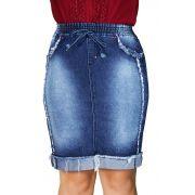 Saia Jeans Secretária Elástico no Cós Desfiada Dyork Jeans