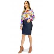 Saia Jeans Secretária Escura Aberturas na Barra Dyork Moda Evangélica
