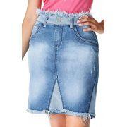 Saia Jeans Secretária Recortes E Desfiados Dyork Jeans