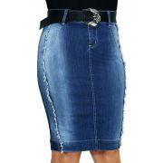 Saia Jeans Tachinhas e Desfiados Nas Laterais Dyork Jeans