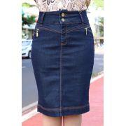 Saia Lápis Jeans Escura com Detalhe de Zíper e Pingente Dyork Jeans
