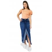 Saia Longa Jeans Abertura Desfiada Dyork Moda Evangélica