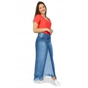 Saia Longa Jeans Desfiada Evasê Dyork Moda Evangélica