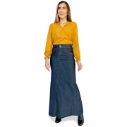 Saia Longa Jeans Nowash Barra Desfiada Dyork Jeans