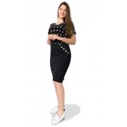 Saia Preta Jeans Midi Desfiada Botões Dyork Moda Evangélica