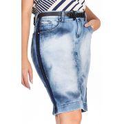 Saia Secretária Jeans com Lavada Diferenciada Dyork Jeans