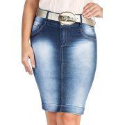Saia Secretária Jeans Lápis Azul Dyork Jeans