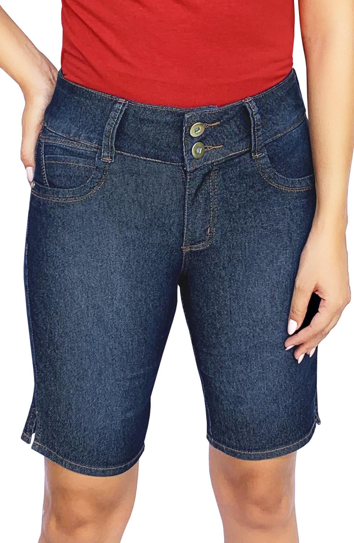 Bermuda Jeans Feminina Pedal Cós Alto Dyork