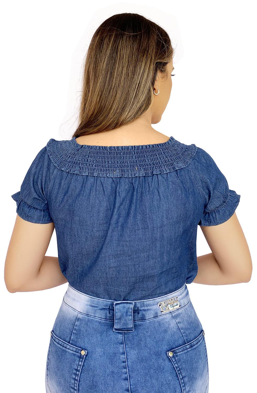 Blusa Ciganinha Jeans Escuro