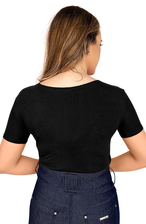 Blusa Preta Malha Decote em V com Strass
