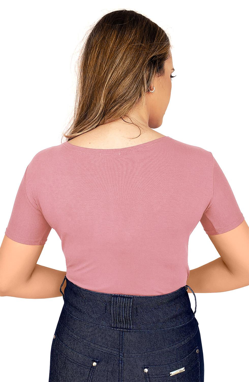 Blusa Rosa Malha Decote em V com Strass