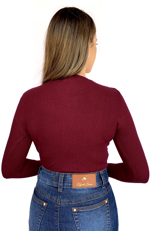 Blusa Tricot Vermelha Feminina Manga Longa