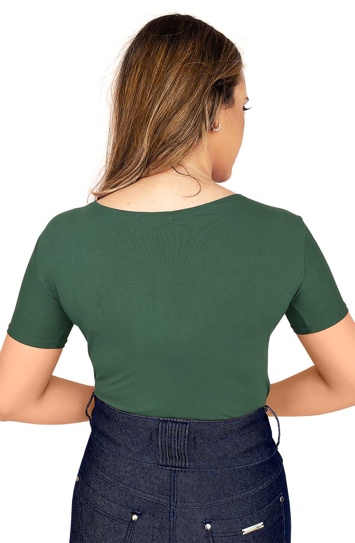 Blusa Verde Malha Decote em V com Strass