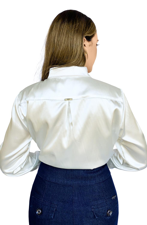 Camisa Feminina Cetim Off White Manga Longa