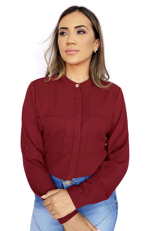 Camisa Feminina Vermelha Manga Longa com Regulador