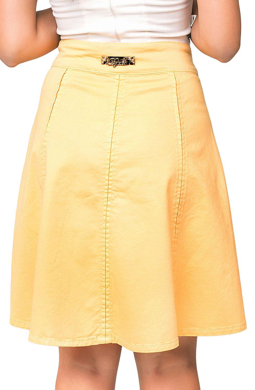Saia Amarela Evasê com Pregas Dyork Jeans