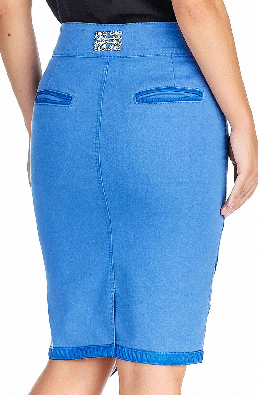 Saia Azul Claro Barrado Assimétrico Dyork Jeans
