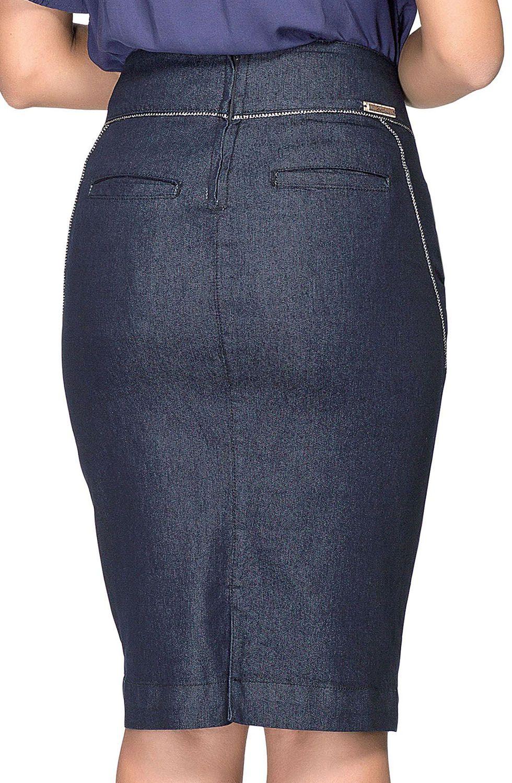 Saia Azul Marinho Jeans Com Linhas Claras Dyork Jeans