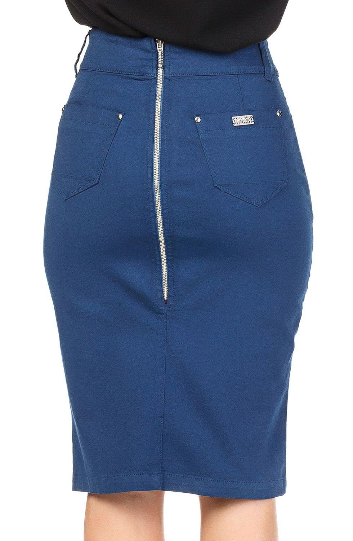 Saia Azul Marinho Midi Recorte Assimétrico e Fenda Pequena Dyork Jeans